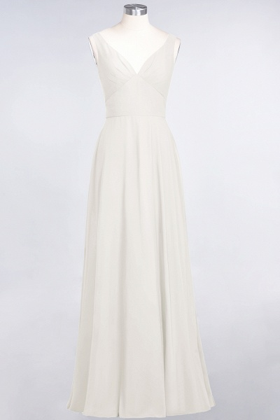 A-Line Chiffon V-Neck Straps Sleeveless Ruffles Floor-Length Bridesmaid Dress with Open Back_2