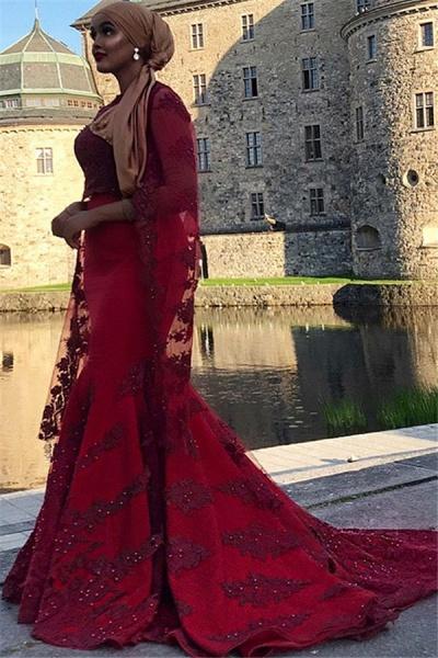 Chic Jewel Appliques Mermaid Prom Dress_2