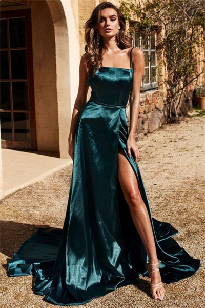 Chic Spaghetti-Straps Side-Slit A-Line Evening Dresses_1