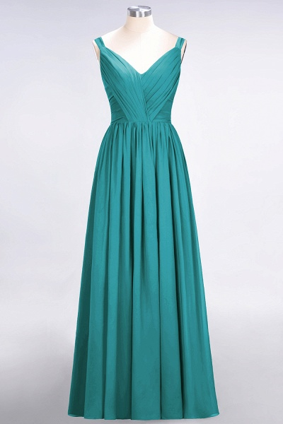 A-Line Chiffon Straps V-Neck Sleeveless Backless Floor-Length Bridesmaid Dress with Ruffles_31