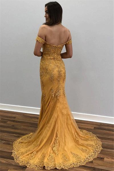 Sleek Off-the-shoulder Appliques Mermaid Prom Dress_2