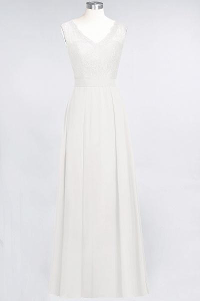 A-Line Chiffon Lace V-Neck Sleeveless Floor-Length Bridesmaid Dress_2