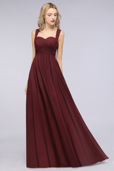 BM0420 Burgundy Simple Cap Sleeves Sweetheart Bridesmaid Dress_4