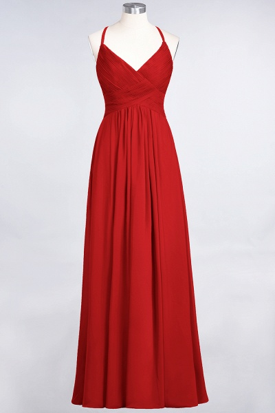 A-Line Chiffon Spaghetti-Straps V-Neck Sleeveless Floor-Length Bridesmaid Dress with Ruffles_8