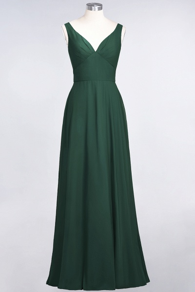 A-Line Chiffon V-Neck Straps Sleeveless Ruffles Floor-Length Bridesmaid Dress with Open Back_30