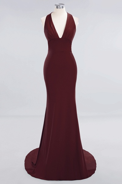 BM0670 Elegant Mermaid Halter Pool V-neck Bridesmaid Dress_9