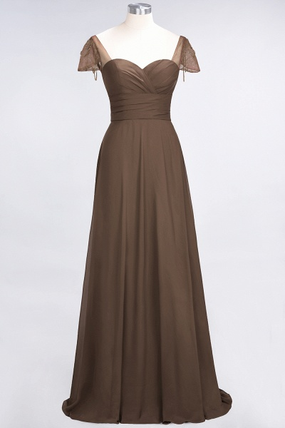 A-Line Chiffon Sweetheart Cap-Sleeves Ruffle Floor-Length Bridesmaid Dress with Beadings_12