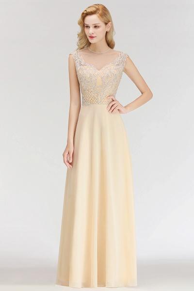 BM0074 Elegant A-Line Champagne Sleeveless Crystal Jewel Bridesmaid Dress_4