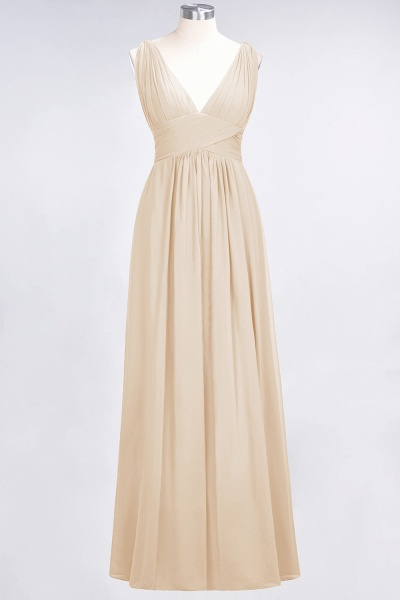 A-Line Chiffon V-Neck Sleeveless Floor-Length Bridesmaid Dress with Ruffle_14