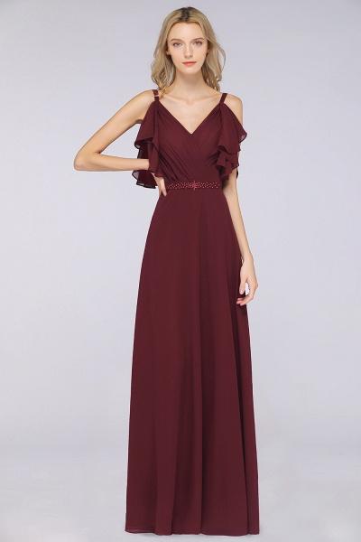 A-Line Chiffon V-Neck Straps Sleeveless Ruffles Floor-Length Bridesmaid Dress with Pearls_1