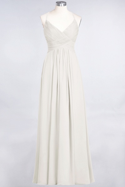 A-Line Chiffon Spaghetti-Straps V-Neck Sleeveless Floor-Length Bridesmaid Dress with Ruffles_2