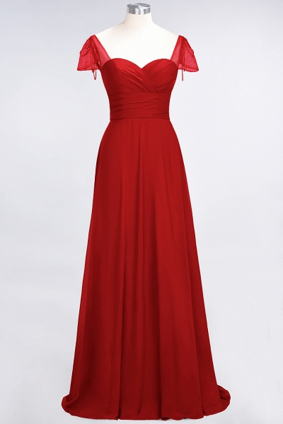 A-Line Chiffon Sweetheart Cap-Sleeves Ruffle Floor-Length Bridesmaid Dress with Beadings_8