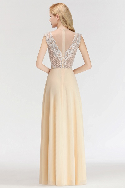 BM0074 Elegant A-Line Champagne Sleeveless Crystal Jewel Bridesmaid Dress_2