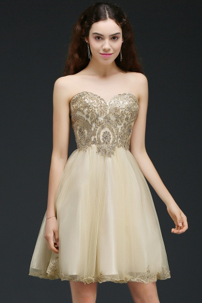 BM0120 Sweetheart Tulle Lace-Up Appliques Short Bridesmaid Dresses