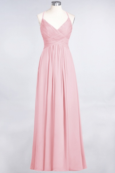 A-Line Chiffon Spaghetti-Straps V-Neck Sleeveless Floor-Length Bridesmaid Dress with Ruffles_4