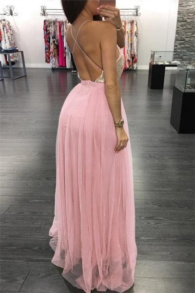 Exquisite Spaghetti Straps Appliques A-line Prom Dress_2