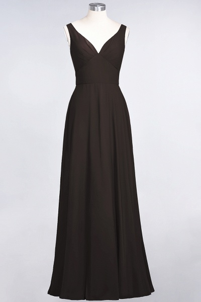 A-Line Chiffon V-Neck Straps Sleeveless Ruffles Floor-Length Bridesmaid Dress with Open Back_11
