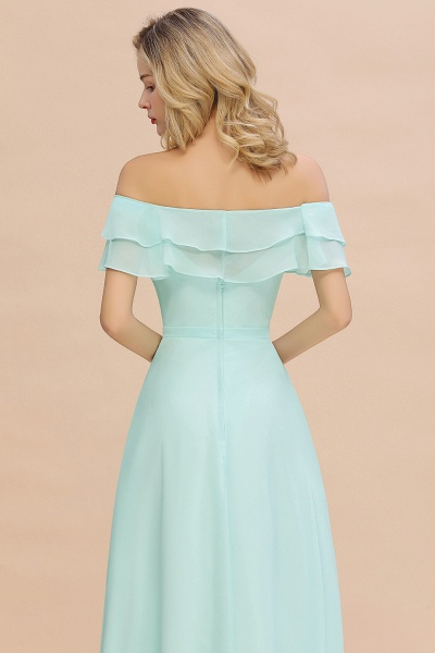 BM0775 Off-the-Shoulder Front Slit Mint Green Long Bridesmaid Dress_8