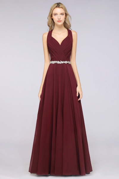 A-Line Chiffon Halter V-Neck Sleeveless Ruffle Floor-Length Bridesmaid Dress with Appliques Sashes_1
