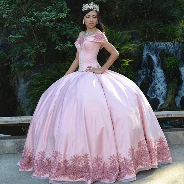 Best Off-the-shoulder Satin Ball Gown Quinceanera Dress_1