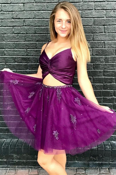 Sexy Two-Pieces Tulle Beading Homecoming Dress_1