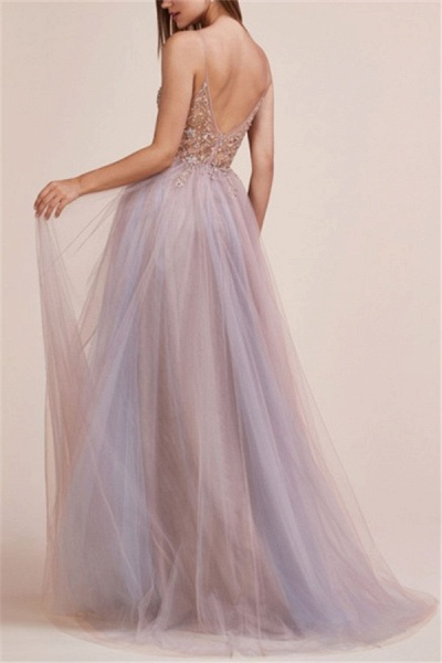 Glamorous Spaghetti-Straps Appliques Side-Slit Prom Dress_2