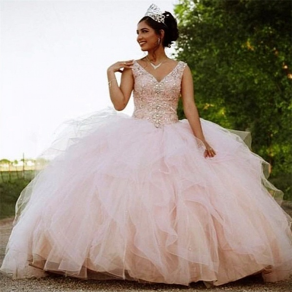 Marvelous V-neck Tulle Ball Gown Quinceanera Dress_1