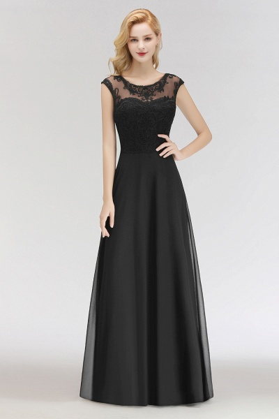 BM0075 Chiffon Scoop Sleeveless Long Lace Bridesmaid Dress_1