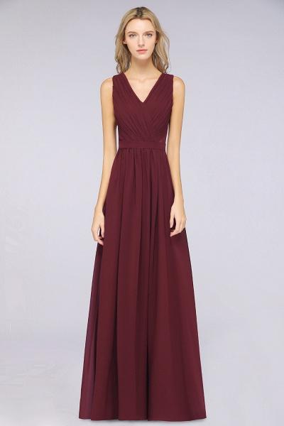 A-Line Chiffon Lace V-Neck Sleeveless Floor-Length Bridesmaid Dress with Ruffles_1