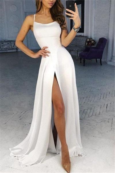 Glorious Spaghetti Straps Split Front A-line Prom Dress_1