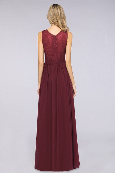 A-Line Chiffon Lace V-Neck Sleeveless Floor-Length Bridesmaid Dress with Ruffles_2