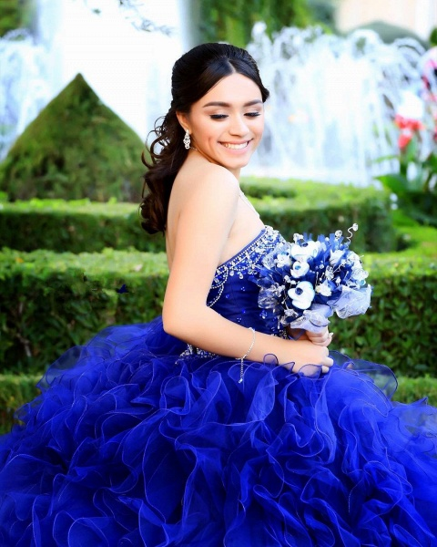 Graceful Strapless Tulle Ball Gown Quinceanera Dress_2