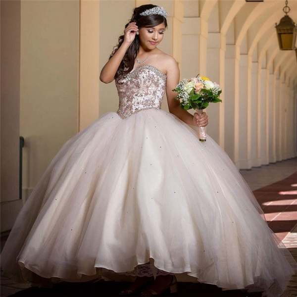 Fascinating Sweetheart Tulle Ball Gown Quinceanera Dress_1