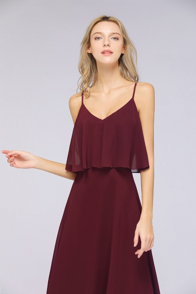 BMbridal Sexy Chiffon V-Neck Burgundy Chiffon Bridesmaid Dresses with Spaghetti Straps_5