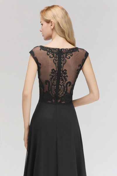 BM0075 Chiffon Scoop Sleeveless Long Lace Bridesmaid Dress_7