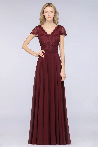 A-Line Chiffon Lace V-Neck Cap-Sleeves Floor-Length Bridesmaid Dress_1