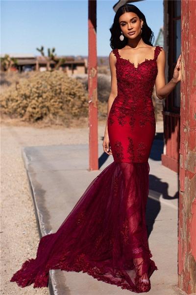 Sleek Straps Appliques Mermaid Prom Dress_1