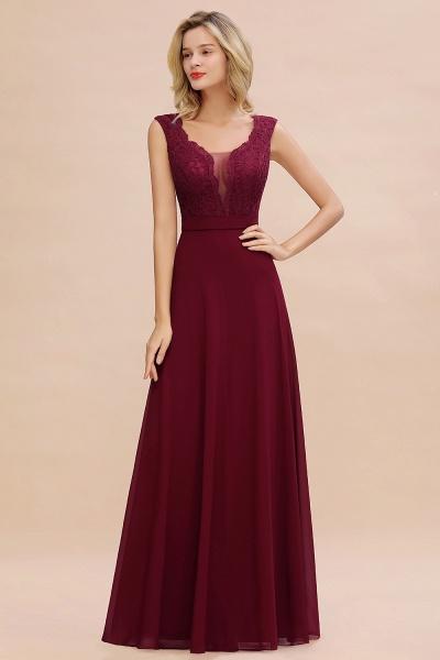 Elegant A-line Chiffon Lace V-Neck Sleeveless Floor-Length Bridesmaid Dress_4