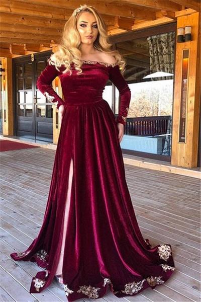 Chic Off-the-shoulder Split Front A-line Prom Dress_1