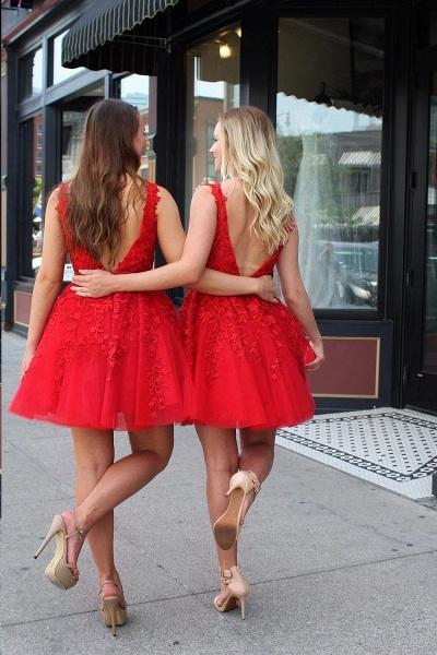 Chic Straps Beading Sash Homecoming Dress_2