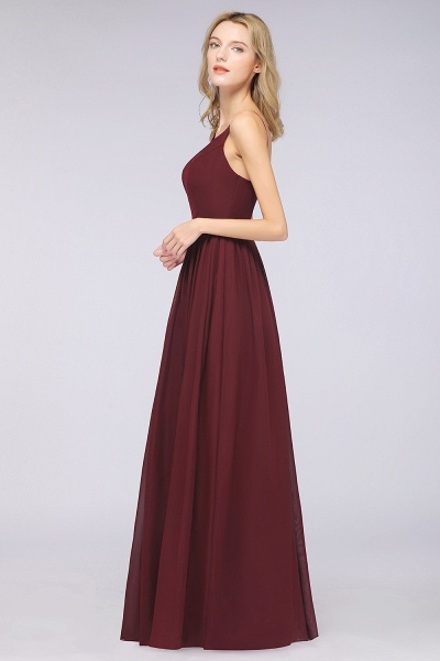 A-Line Chiffon Appliques Spaghetti-Straps Deep-V-Neck Sleeveless Floor-Length Bridesmaid Dress with Ruffles_5