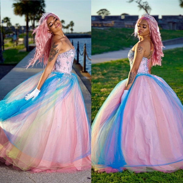 Excellent Sweetheart Tulle Ball Gown Quinceanera Dress_1