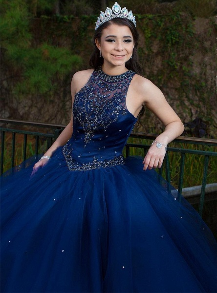 Beautiful Jewel Tulle Ball Gown Quinceanera Dress_3