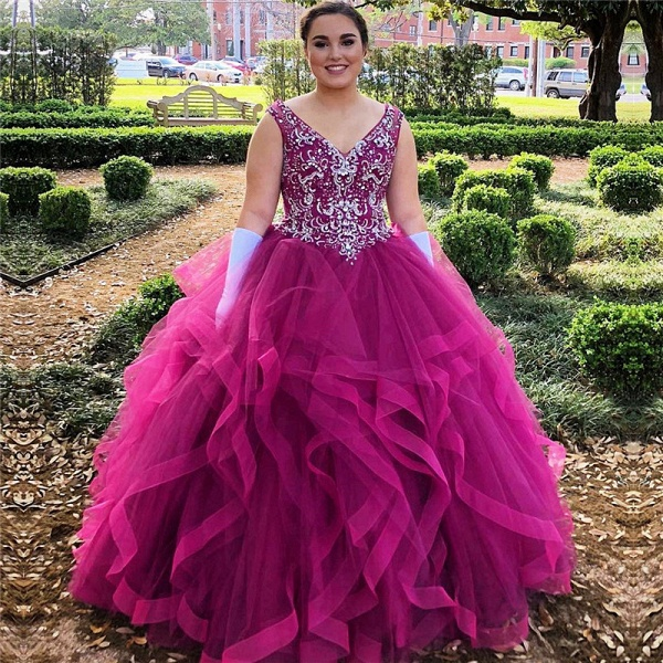 Fabulous V-neck Tulle Ball Gown Quinceanera Dress_1