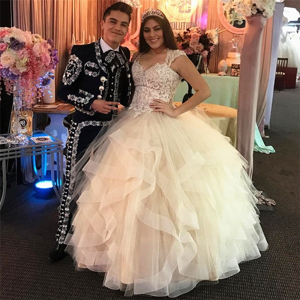 Affordable V-neck Tulle Ball Gown Quinceanera Dress_1