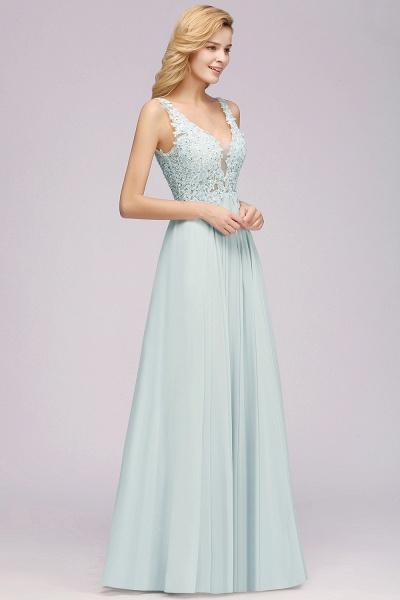 BM0833 Sexy Chiffon Beaded Lace V-Neck Sleeveless Long Bridesmaid Dress_5
