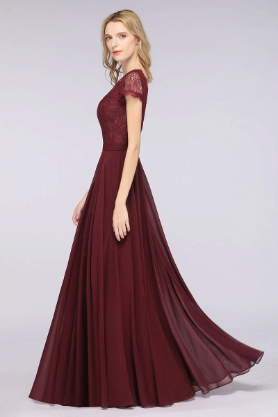 A-Line Chiffon Lace V-Neck Cap-Sleeves Floor-Length Bridesmaid Dress_5
