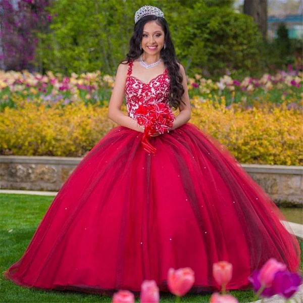 Graceful Sweetheart Tulle Ball Gown Quinceanera Dress_1