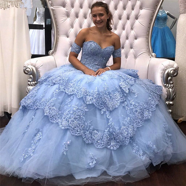 Graceful Off-the-shoulder Tulle Ball Gown Quinceanera Dress_1
