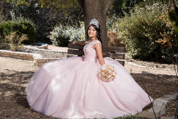Affordable Jewel Tulle Ball Gown Quinceanera Dress_3